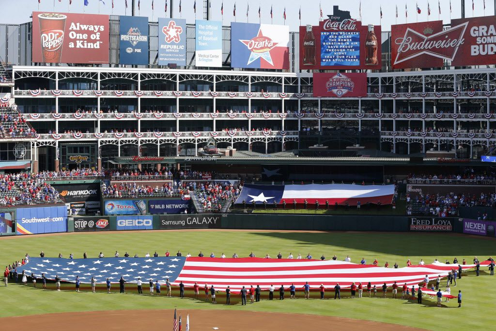 Pregame ceremonies before the start of game 4 between Texas Rangers and the Toronto Blue Jays in the American League Division Series at Globe Life Park in Arlington on Monday, October 12, 2015. Toronto Blue Jays defeated the Texas Rangers 8-4 and tied the series 2-2. (Vernon Bryant/The Dallas Morning News)