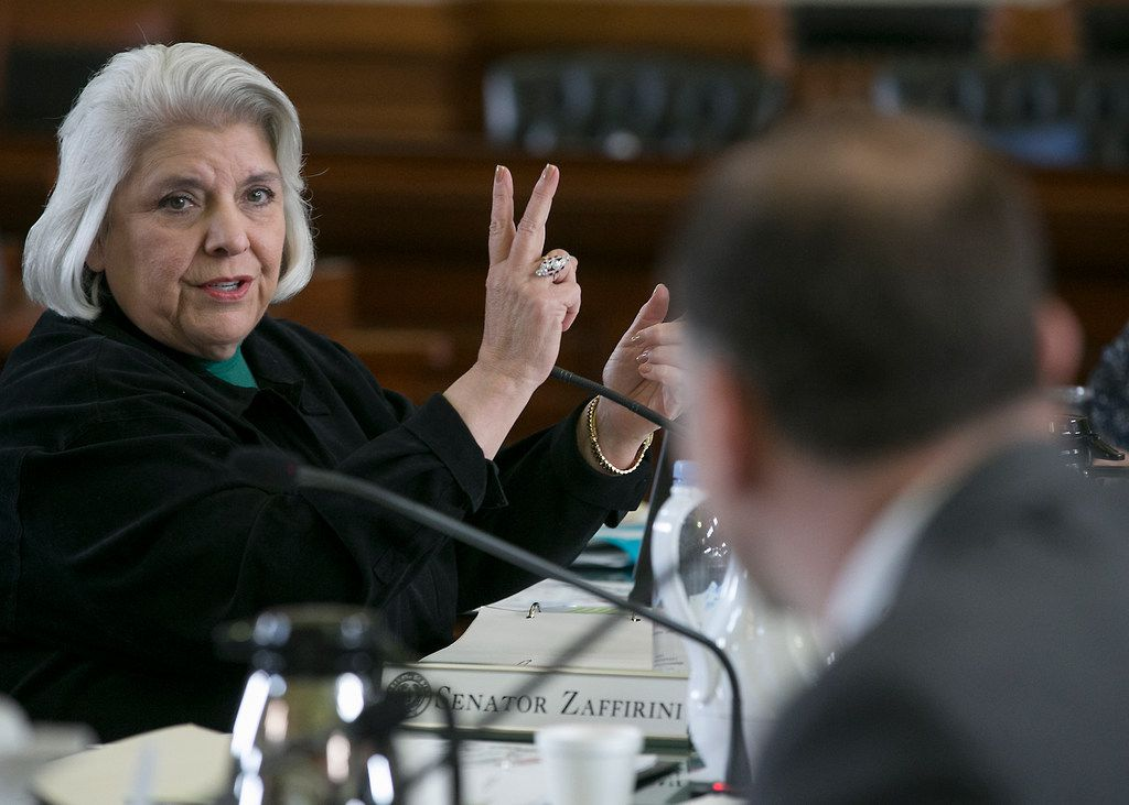 Texas Sen. Judith Zaffirini, D-Dist. 21, the author of Senate Bill 31, a statewide ban on texting while driving, she makes a point during the Senate State Affairs Committee hearing in Chambers, Monday, March 13, 2017, in Austin, Texas. (Ralph Barrera/Austin American-Statesman via AP) ORG XMIT: TXAUS104