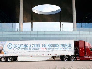 A hydrogen fuel cell semi truck parked at Toyota Motors North America in Plano on Aug. 21, 2018.