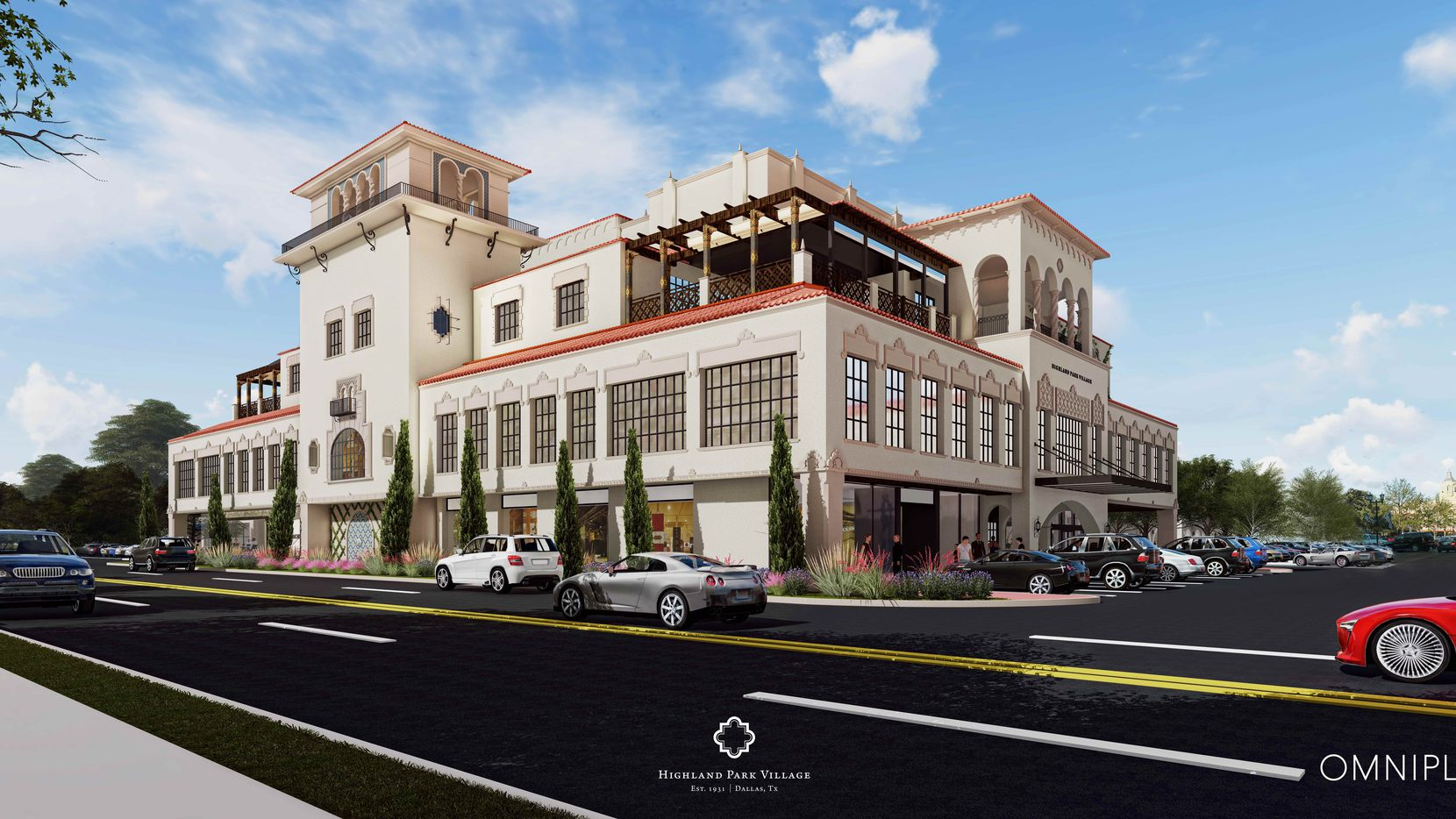 The private Park Club will occupy the top  of the central Highland Park Village building on Preston Road.