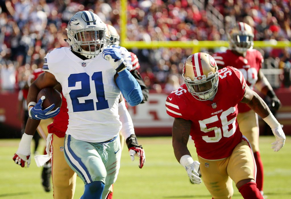 Dallas Cowboys running back Ezekiel Elliott (21) catches a pass and runs for a 72-yard touchdown in the third quarter during a National Football League game between the Dallas Cowboys and the San Francisco 49ers at Levi's Stadium in Santa Clara, California Sunday October 22, 2017. Dallas Cowboys beat the 49ers 40-10. (Andy Jacobsohn/The Dallas Morning News)