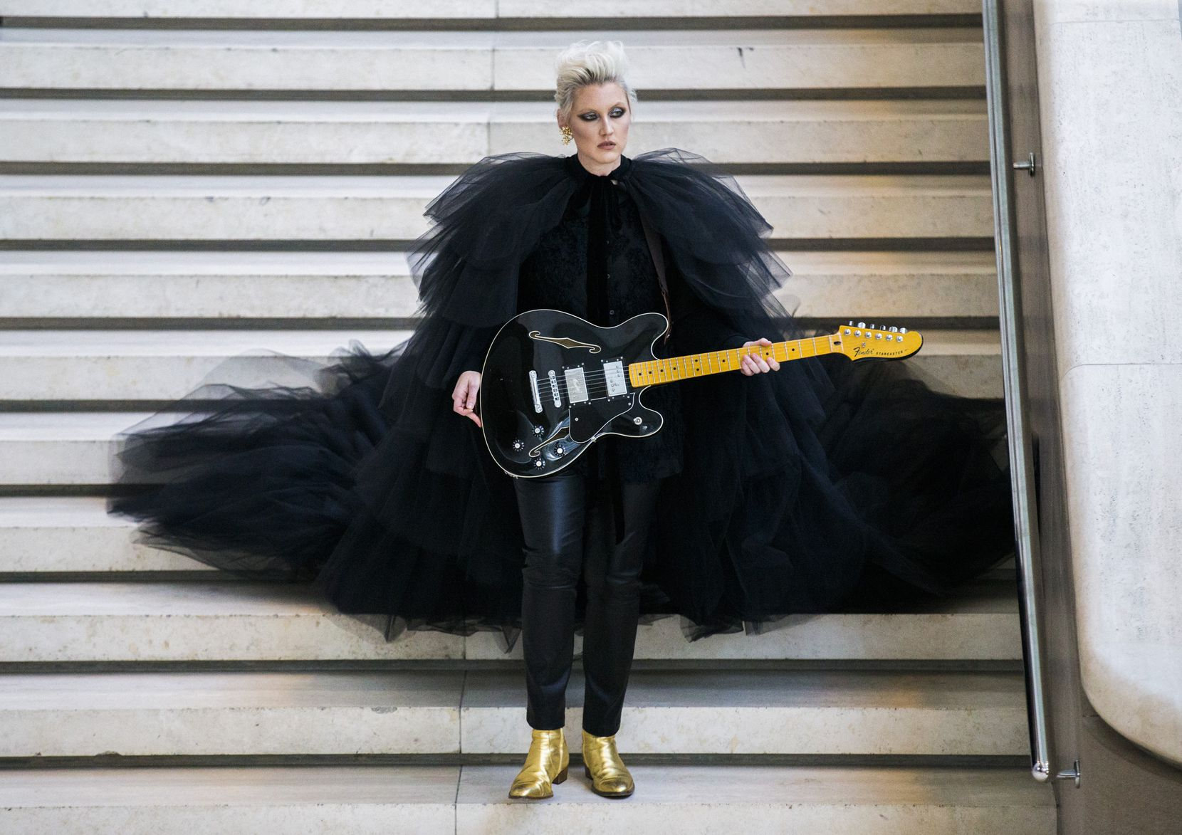 """Musician Sarah Jaffe performs during a pop-up performance entitled """"Eyes as Bright as Diamonds"""" to kick off the Soluna International Music & Arts Festival on April 11, 2018 at the Morton H. Meyerson Symphony Center in Dallas. The performance brought together New York artist Jen Ray, musician Sarah Jaffe and several Dallas performers."""