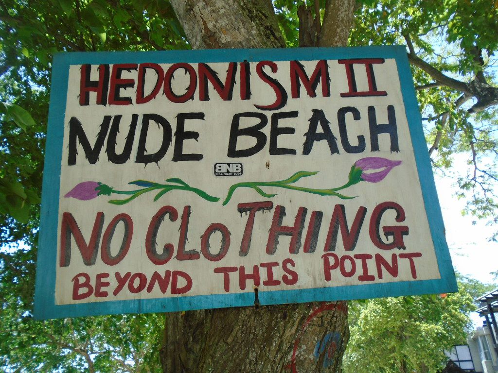 Sections of Hedonism II include dining and entertainment venues, lodging, and designated Nude Beach and Prude Beach.