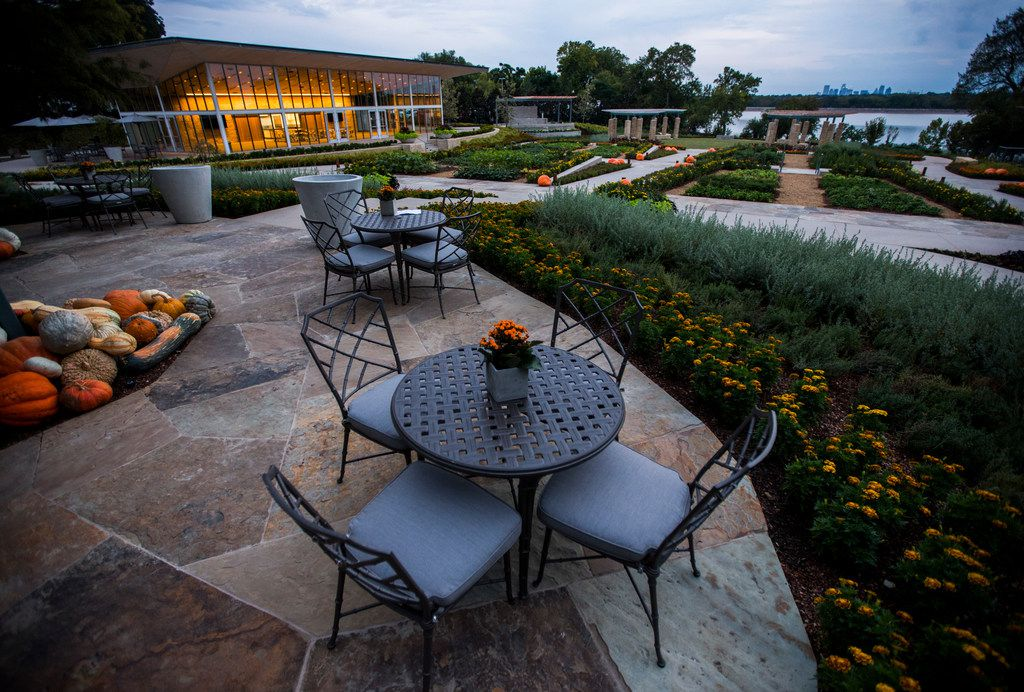 A seating area near the test kitchen building at the new Tasteful Place edible garden at the Dallas Arboretum on Sept. 26, 2017 in Dallas.