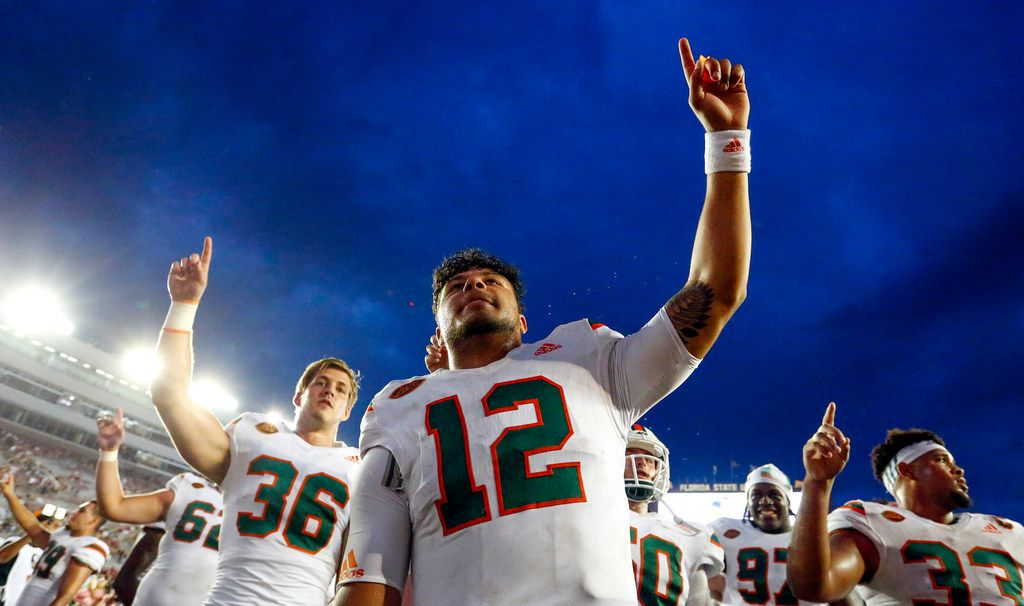 TALLAHASSEE, FLA. -  OCTOBER 7: Quarterback Malik Rosier #12 of the Miami Hurricanes celebrates with his teammates after they defeated Florida State 24-20 on Oct.7, 2017, at Doak Campbell Stadium. (Photo by Butch Dill/Getty Images)