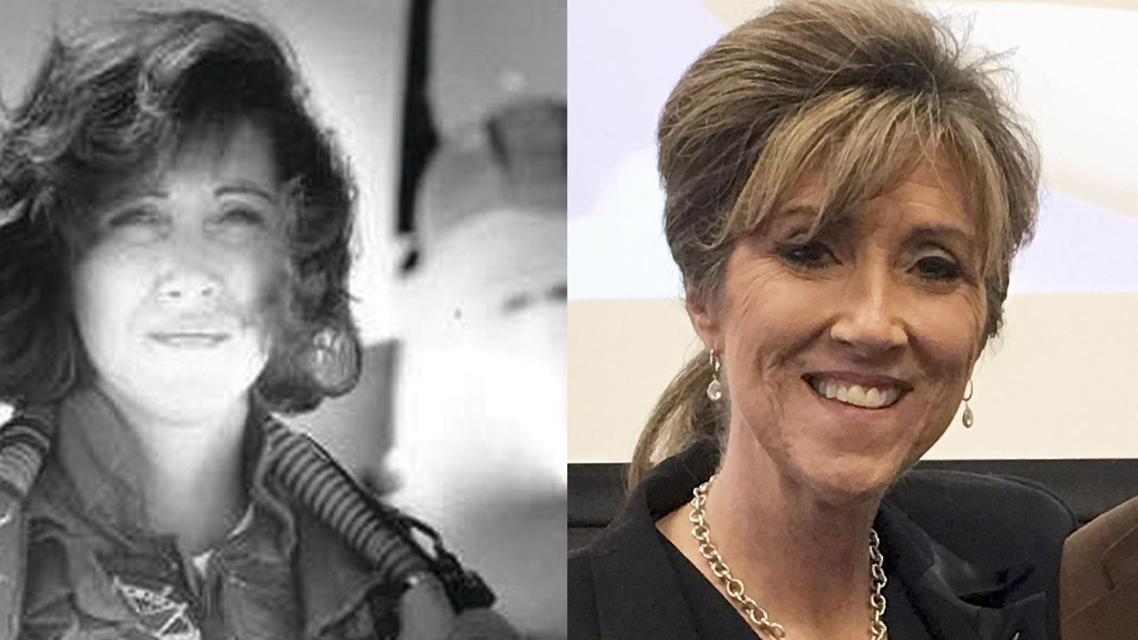LEFT: Tammie Jo Shults as a Navy fighter pilot in the early 1990s. RIGHT:  Shults in a March 2017 photo. Shults was piloting a Southwest Airlines jetliner bound from New York to Dallas when one of its engines exploded Tuesday, killing a passenger and causing a midflight crisis.
