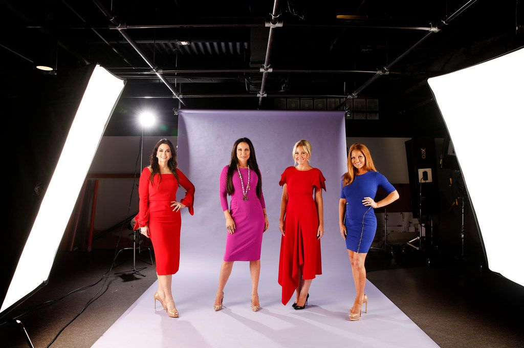 """Posing is a thing. """"The Real Housewives of Dallas"""" cast, (from left) D'Andra Simmons, LeeAnne Locken, Stephanie Hollman and Brandi Redmond, take a shine to the lights in The Dallas Morning News studio on Wednesday, Aug. 8, 2018."""