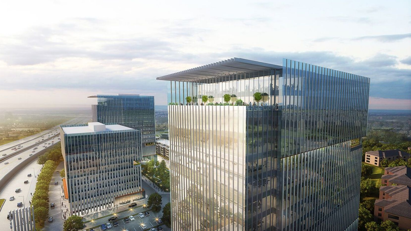 The Auspire office campus, shown in a rendering, is part of the 40-acre Gate development on the Dallas North Tollway.