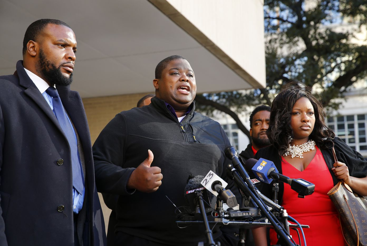 Rod Smith, Jacqueline Craig's cousin, speaks during a news conference outside Fort Worth City Hall on Monday. (Tom Fox/Staff Photographer)