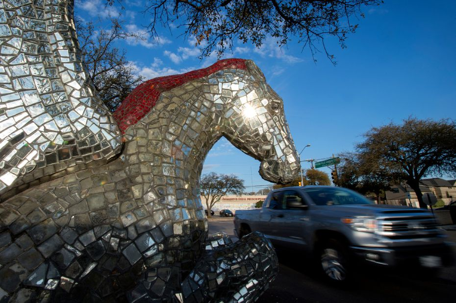 A truck passes a mirrored Pegasus statue in the northeast corner of the Preston Royal shopping center on Wednesday, March 8, 2017 in Dallas. (Jeffrey McWhorter/Special Contributor)