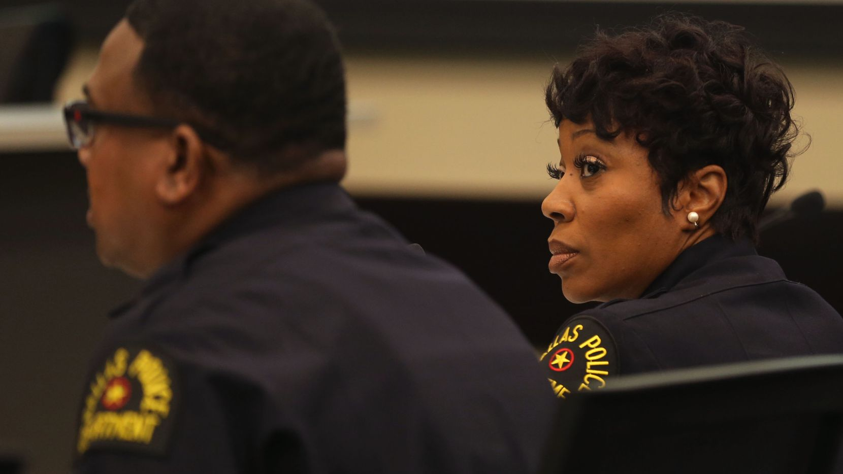 Dallas Police Chief U. Renee Hall listened to Lt. David Davis during a Dallas City Council committee briefing this week.