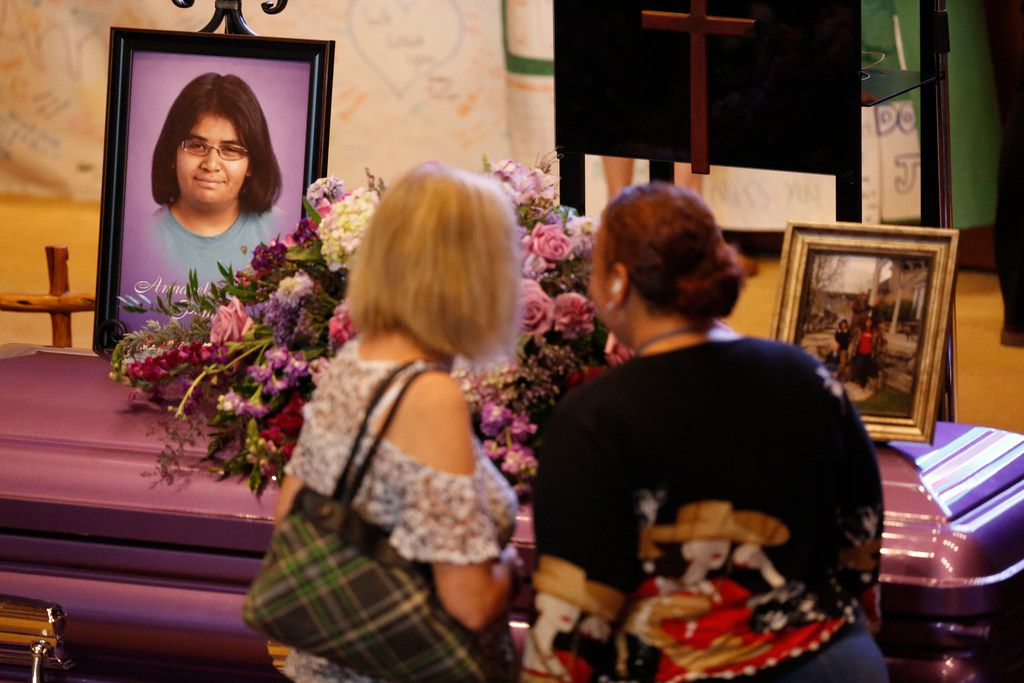 Mourners pay their respects before Monday's funeral service for Annabelle Pomeroy, the 14-year-old adoptive daughter of Sherri and Frank Pomeroy, pastor of First Baptist Church of Sutherland Springs.