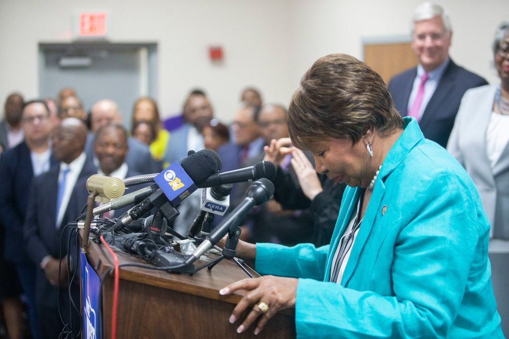 U.S. Rep. Eddie Bernice Johnson bows her head as she thanks supporters for voting for her as she makes remarks during state Sen. Royce West's campaign launch for U.S. Senate at the CWA Local 6215 Union Hall in Dallas on Monday.