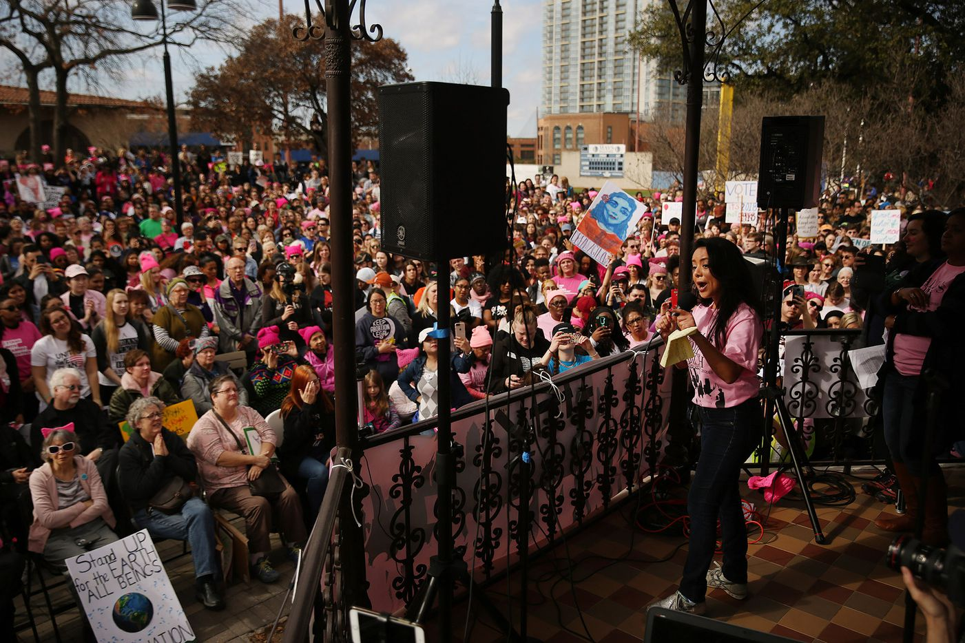 Victoria Neave, who represents Texas House District 107, speaks at Pike Park during the rally portion of the Dallas Women's March in Dallas Saturday.