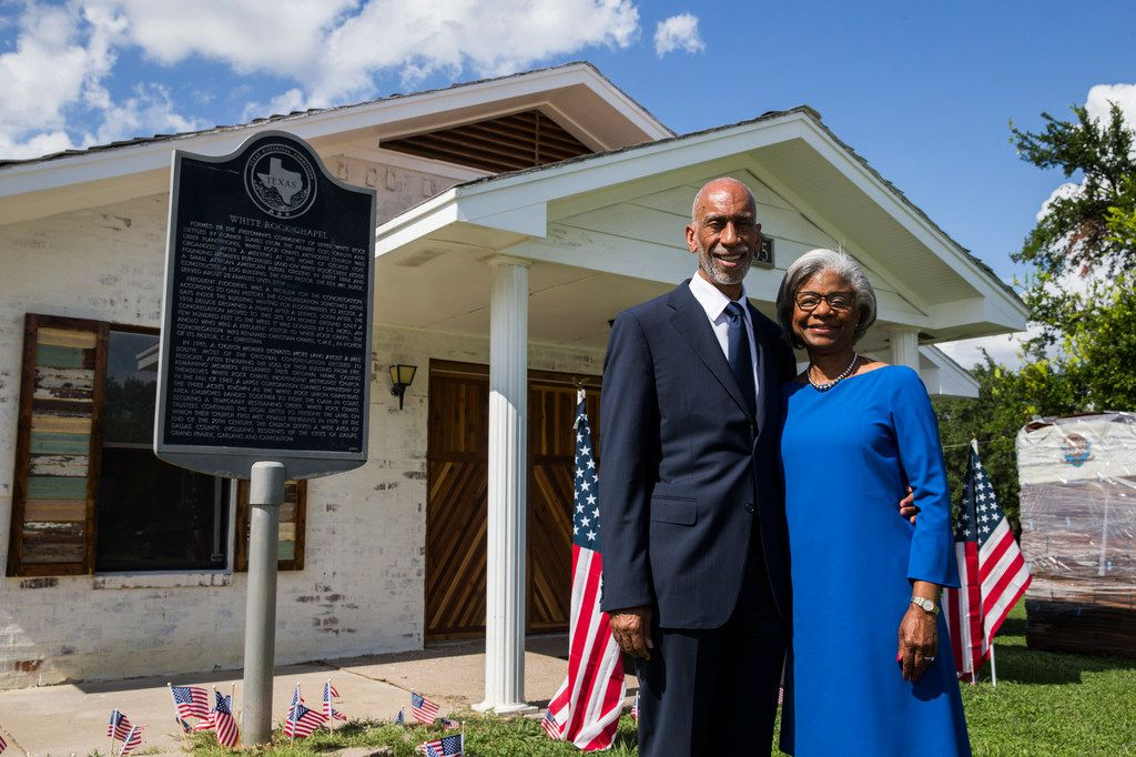 Don and Wanda Wesson outside the White Rock Chapel in Addison. The Wessons bought the property, which originally belonged to members of the Upper White Rock freedman's community, last year and have led the restoration of the 1981 church on the lot.