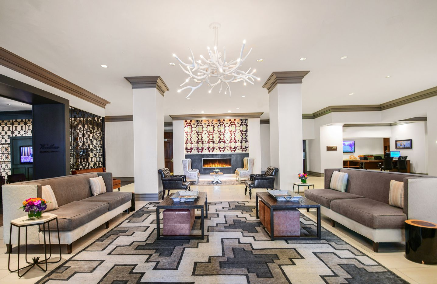 The renovated lobby of the Hilton Dallas/Park Cities hotel.