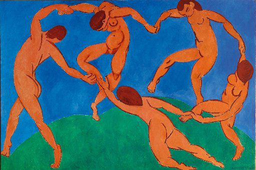 The Dance by Henri Matisse is a 260 x 391 oil on canvas painted in 1910