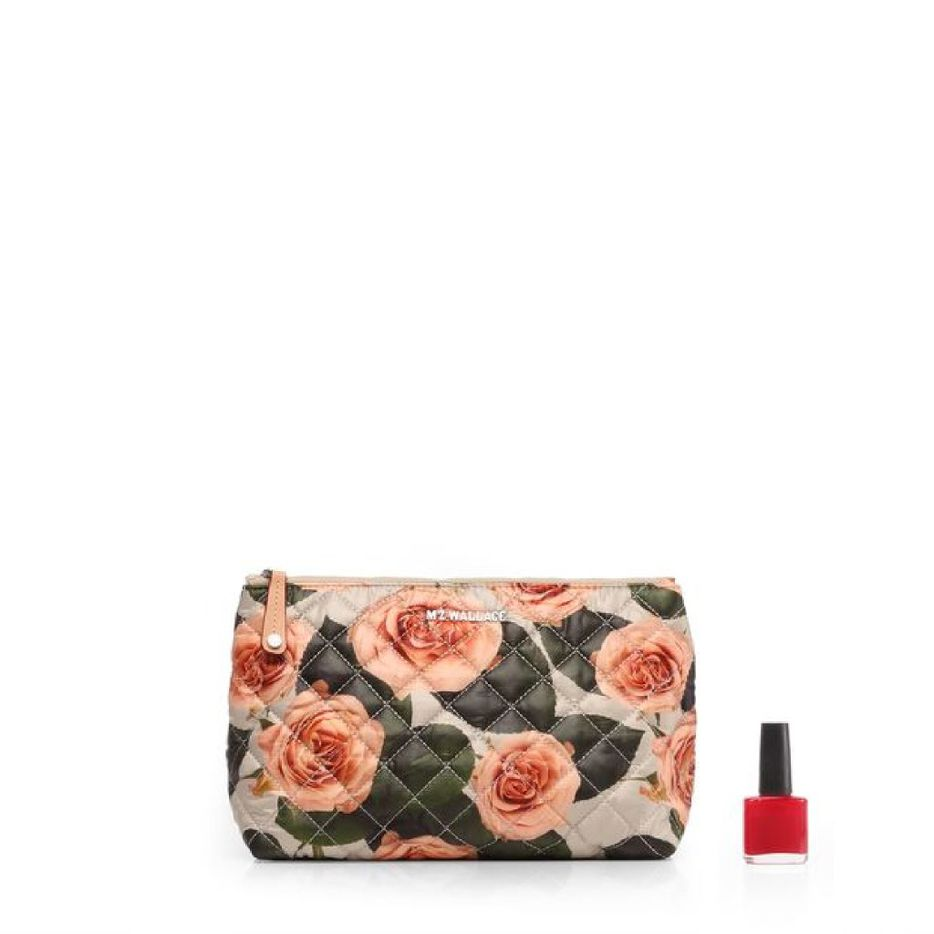 MZ Wallace quilted Zoey Cosmetic bag in peach rose print, $35, mzwallace.com