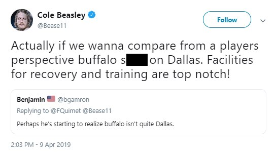 Bills WR Cole Beasley bashes Cowboys' facilities on social media