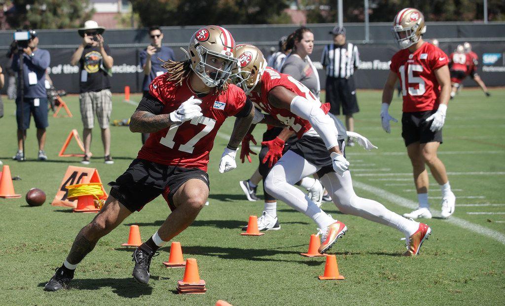 San Francisco 49ers' Jalen Hurd (17) performs a drill at the team's NFL football training camp in Santa Clara, Calif., Saturday, July 27, 2019. (AP Photo/Jeff Chiu)