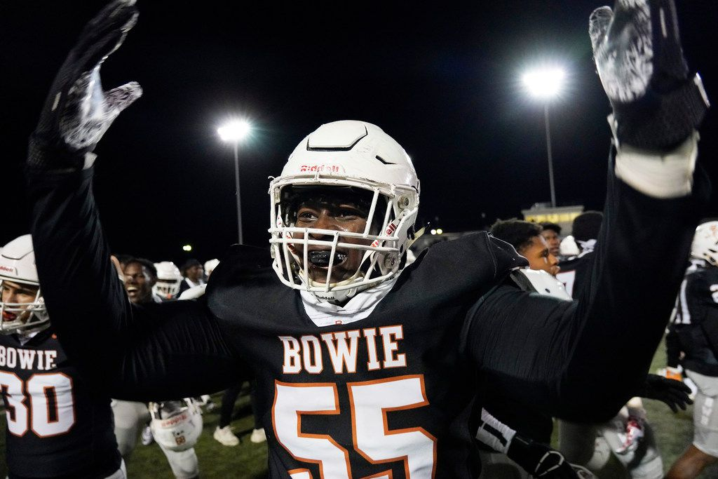 Arlington Bowie offensive lineman Rashid Wasai (55) celebrates after a victory over Arlington High in a high school football game at Wilemon Field on Friday, Oct. 11, 2019, in Arlington, Texas. (Smiley N. Pool/The Dallas Morning News)