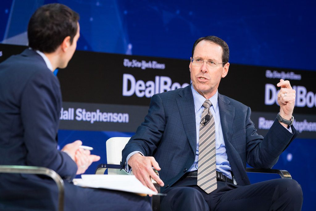 Randall Stephenson, the chief executive of AT&T, at the New York Times DealBook conference in Manhattan, Nov. 9, 2017. A day after word of AT&TÕs negotiations with the Justice Department spilled into the open, Stephenson said here that selling CNN in order to push through his companyÕs $85.4 billion acquisition of Time Warner has never been on the table. (Mike Cohen/The New York Times)