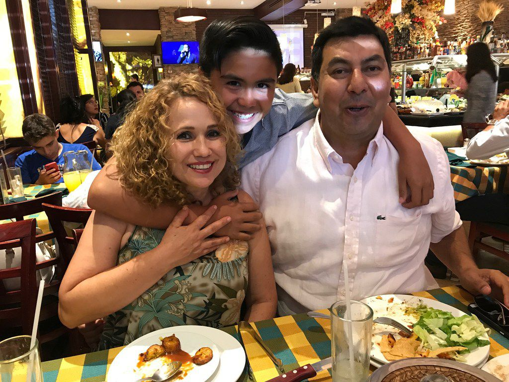 Nora Judith Gonzalez, 49, her husband Alejandro Fuentes Cervantes, 52 and their son Karol Alejandro, 11, at a restaurant in Leon, Guanajuato, where they live a middle class life. The couple is considering voting for left-leaning presidential candidate Andres Manuel Lopez Obrador.