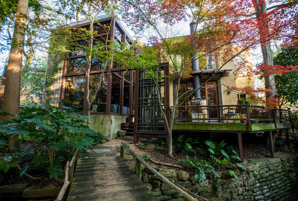 """The front of an Airbnb house affectionately known as the """"tree house"""" on Nov. 13, 2018. The rental home was named the most wish-listed Airbnb in Dallas."""