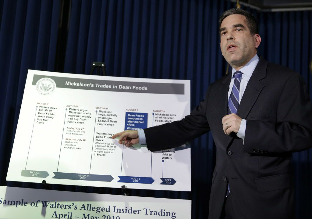 Andrew Ceresney, head of the SEC's Enforcement Division, explains some details of an alleged insider trading scheme during a news conference Thursday in New York. Professional golfer Phil Mickelson has agreed to forfeit nearly $1 million that the Securities and Exchange Commission said was unfairly earned on a tip from an insider trading scheme conducted by a former corporate director and a professional gambler.  (AP Photo/Seth Wenig)