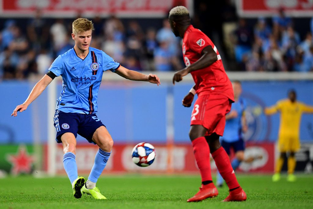 NEW YORK, NEW YORK - SEPTEMBER 11: Keaton Parks #55 of New York City FC controls the ball during the game against Toronto FC at Yankee Stadium on September 11, 2019 in the Bronx borough of New York City. (Photo by Emilee Chinn/Getty Images)
