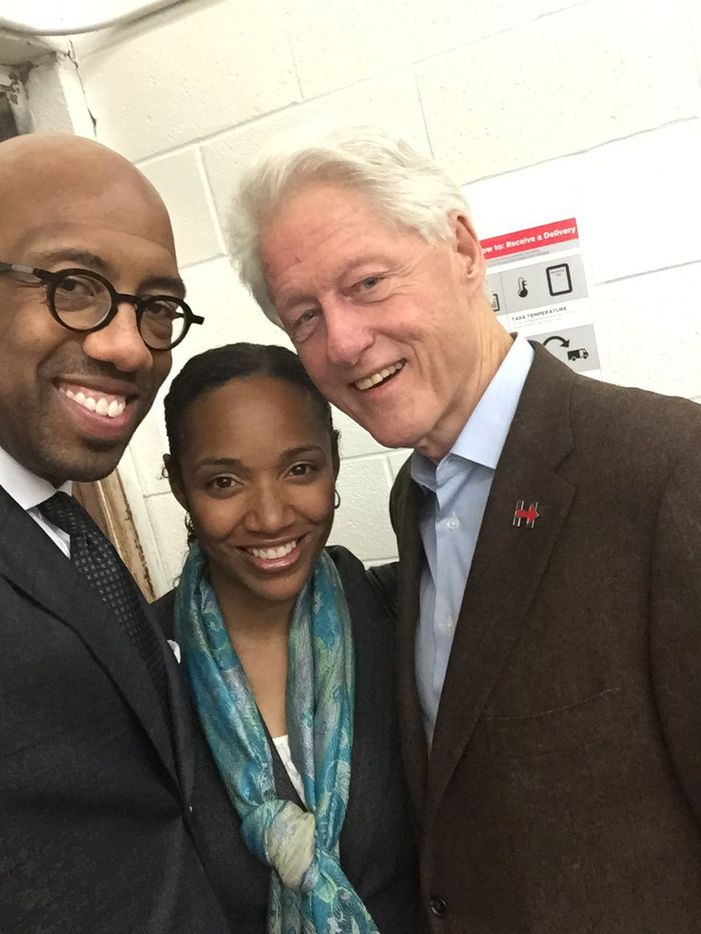 Paul Quinn College president Michael Sorrell and wife Natalie took a selfie with Bill Clinton when the former president visited the campus during a Dallas campaign trip for Hillary Clinton in 2016.