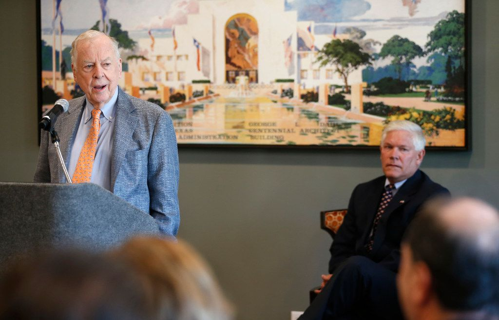 T. Boone Pickens (left) speaks as Rep. Pete Sessions looks on during a dedication ceremony at T. Boone Pickens Hospice and Palliative Care Center in Dallas, Tuesday, April 18, 2017. (Jae S. Lee/The Dallas Morning News)