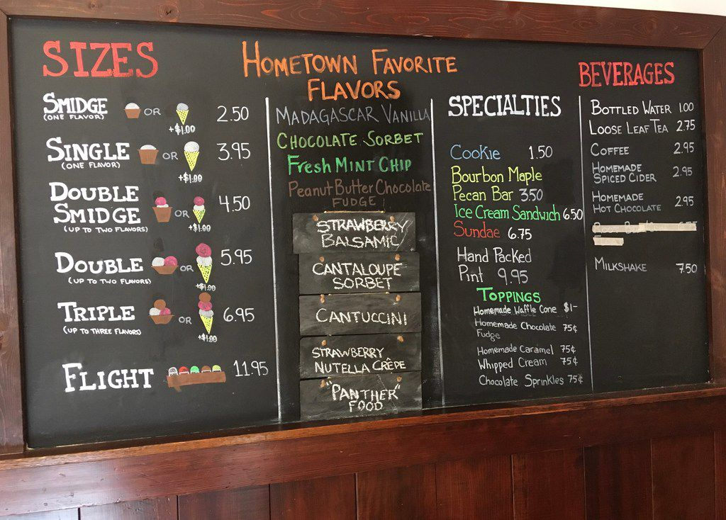 The menu at San Francisco s Hometown Creamery offers nine homemade flavors, with five that rotate. A standard is Fresh Mint Chip.