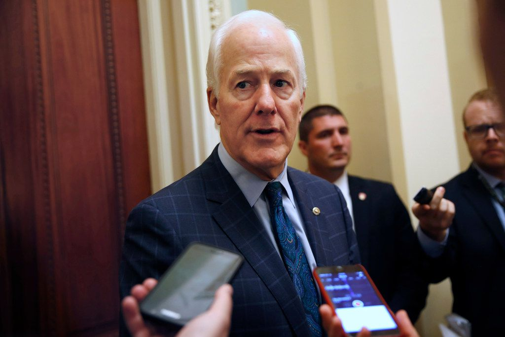 Senate Majority Whip John Cornyn, R-Texas, speaks to reporters Oct. 19 on Capitol Hill.