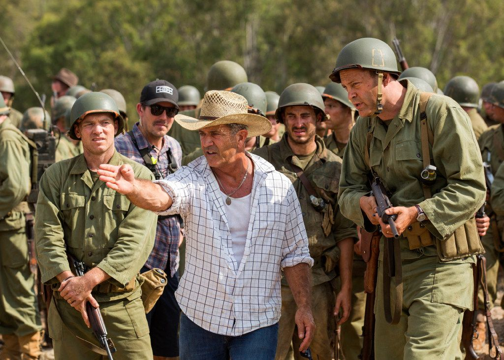 Director Mel Gibson, center, and actor Vince Vaughn, right, on the set of the film, Hacksaw Ridge. Gibson was nominated for an Oscar for best directing  on Tuesday, Jan. 24, 2017, for his work on the film. The 89th Academy Awards will take place on Feb. 26. (Summit via AP) Gibson and Vaughn will appear in a new film produced by Dallas-based Cinestate.