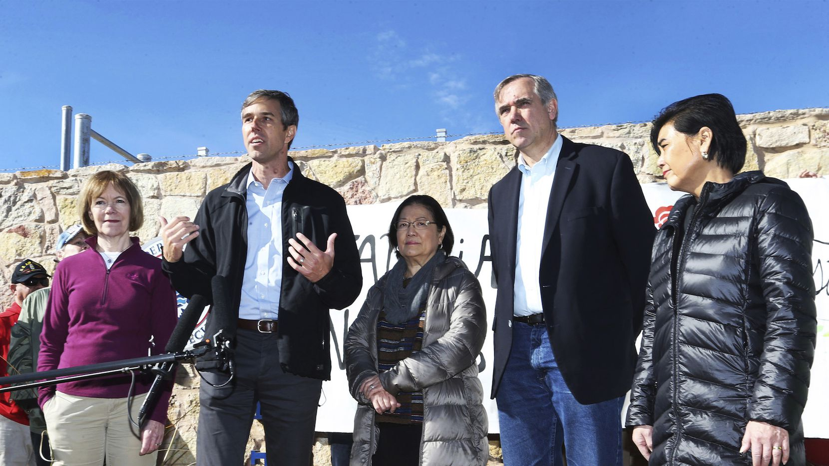 U.S. Rep. Beto O'Rourke, D-El Paso, second from left, speaks with a congressional delegation after touring the Tornillo international port of entry where more than 2,000 undocumented children are being housed Saturday, Dec. 15 East of El Paso, TX. With him are from left, U.S. Sen. Tina Smith, D-MN, U.S. Sen. Mazie Hirono, D-HI, U.S. Sen. Jeff Merkley, D-Oregon and U.S. Rep. Judy Chew, D-CA.