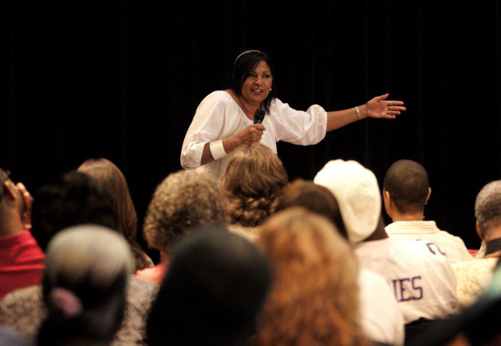 Actress Pam Grier speaks to fans during a 2010 event for her book Foxy at the South Dallas Cultural Center. The National Multicultural Western Heritage Museum named its first community garden after the film icon.