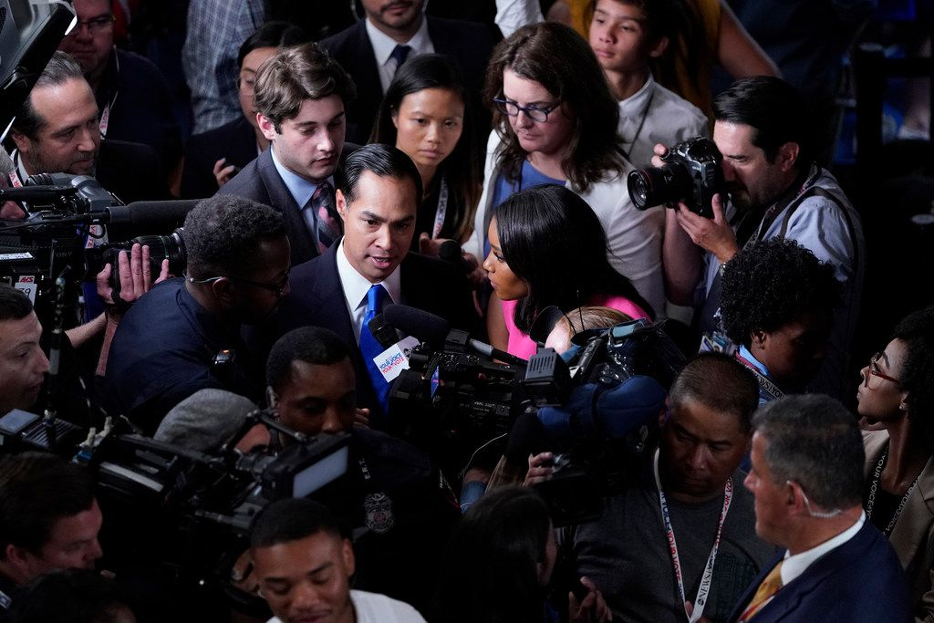 Former Housing Secretary Julián Castro, shown in the spin room Thursday night after the Democratic presidential debate, is spinning his jabs at Joe Biden's memory as policy-based, fair and courageous. Some analysts and rivals, though, said Castro simply tried to feed a narrative that Biden, 76, has lost mental sharpness.