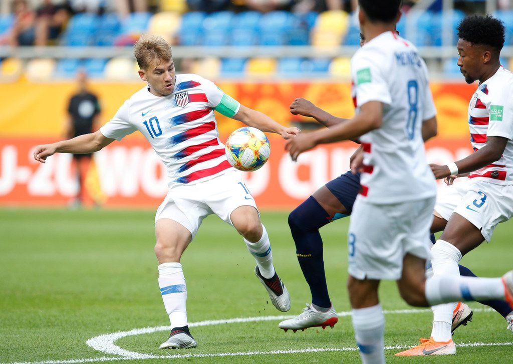 United States' Paxton Pomykal controls the ball during the quarter final match between USA and Ecuador at the U20 World Cup soccer in Gdynia, Poland, Saturday, June 8, 2019. (AP Photo/Darko Vojinovic)