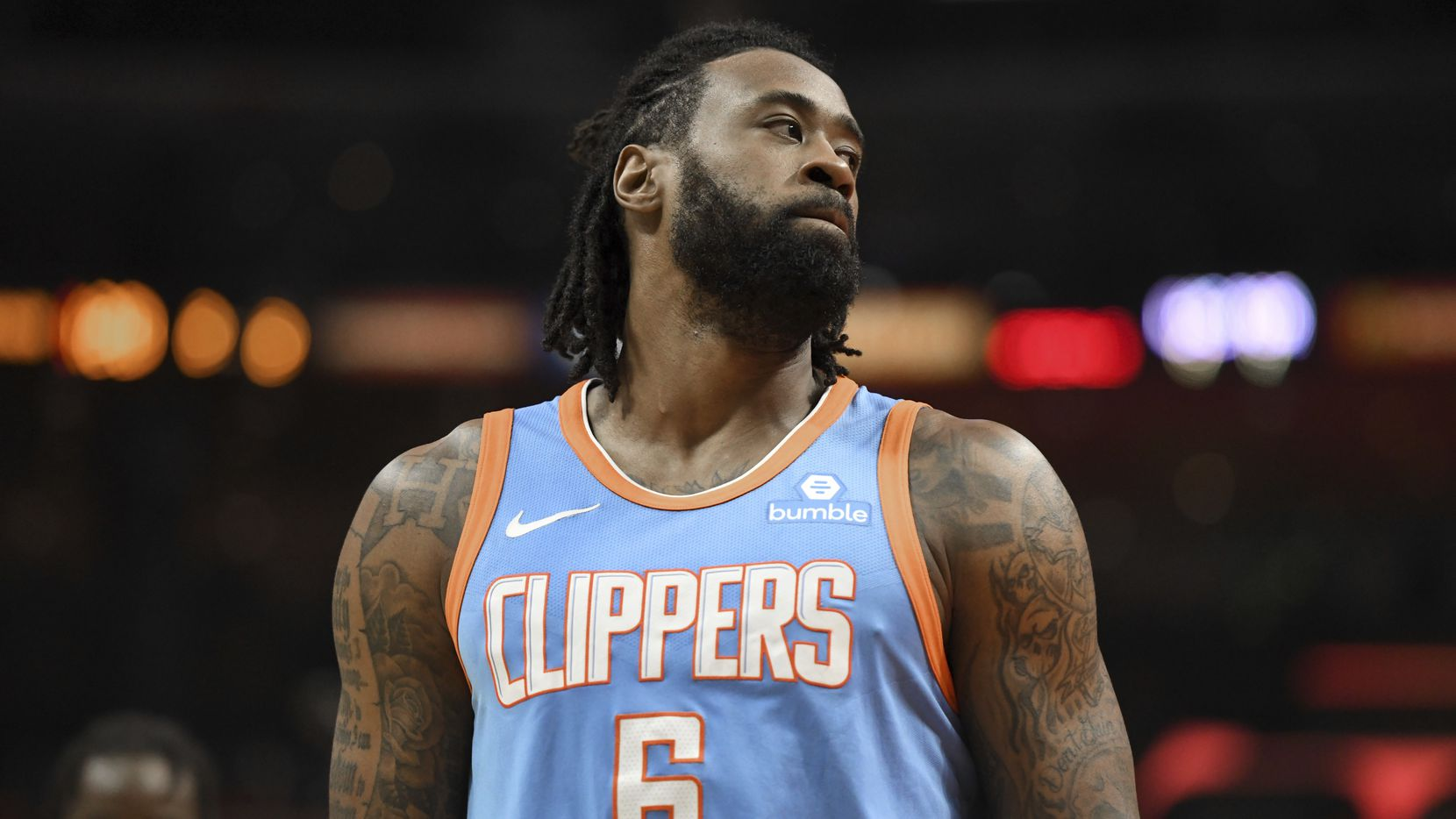 Los Angeles Clippers center DeAndre Jordan (6) looks on as the Portland Trail Blazers extend their lead during a game on Sunday, March 18, 2018, in Los Angeles. (AP Photo/Michael Owen Baker)