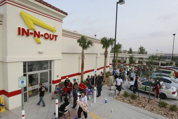 About 80 people line up for the opening of the In-N-Out on Stacy Road in Allen.