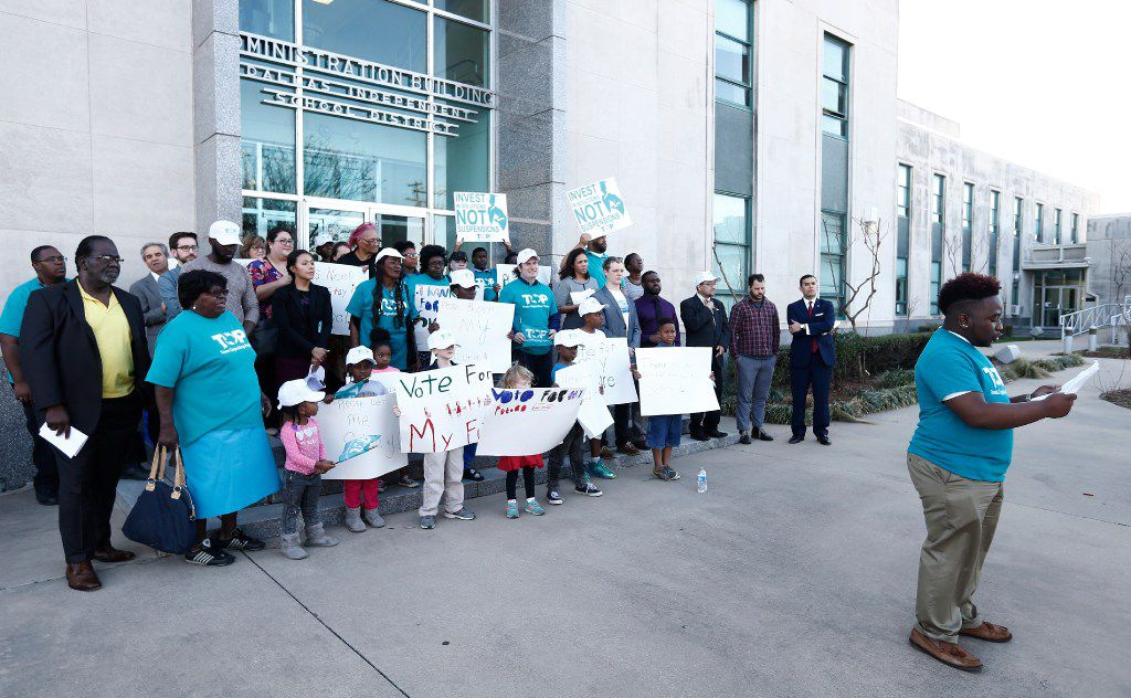 Dajaun Johnson, a senior at Townview Magnet Center, speaks out against suspensions for DISD students during a Texas Organizing Project at the Dallas Independent School District Administration building, Thursday, February 23, 2017. (Brandon Wade/Special Contributor)
