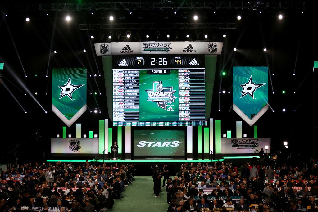 Dallas Stars work before picking Albin Eriksson with the 44th pick from the SHL during day two of the National Hockey League Draft at the American Airlines Center in Dallas Saturday June 23, 2018. (Andy Jacobsohn/The Dallas Morning News)