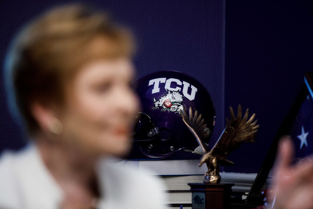 A TCU football helmet is on display in Congresswoman Kay Granger's office as she speaks with The Dallas Morning News on Capitol Hill.
