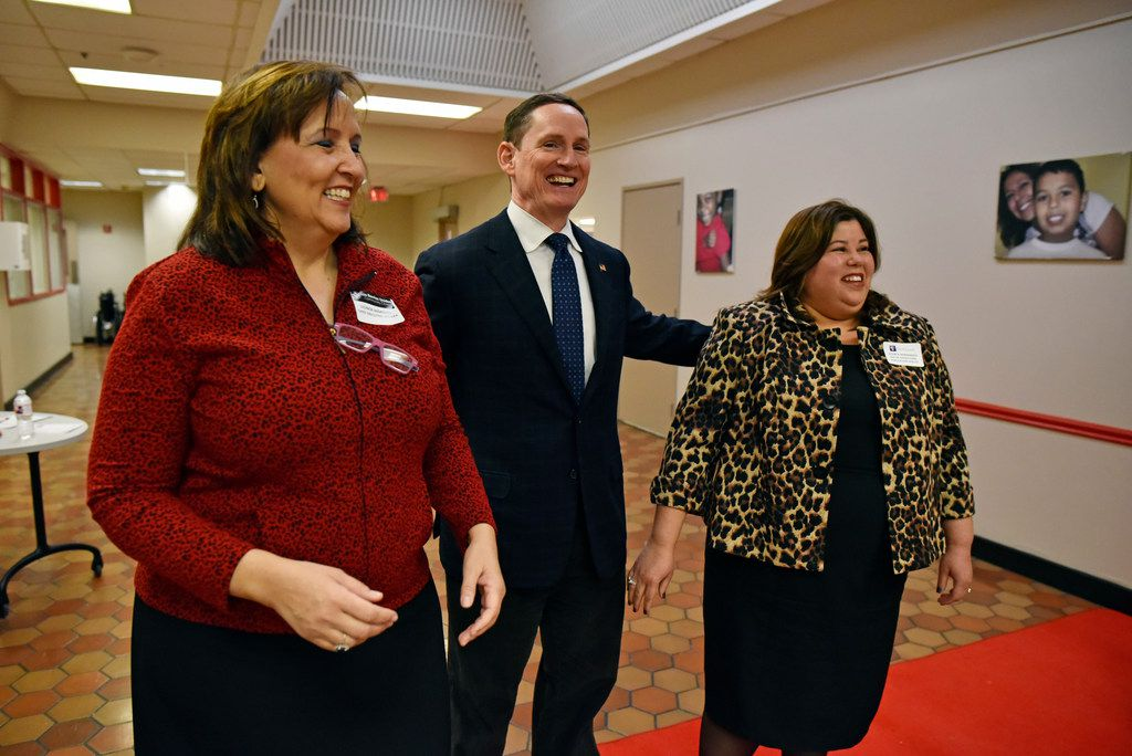 Leonor Marquez, left, chief executive officer for Los Barrios Unidos Community Clinics, Dallas County Judge Clay Jenkins and Jessica Hernandez, senior vice president of operations at Parkland Health & Hospital System, speak with each other after conducting a press conference held by area leaders to demand that Congress renew funding for community health centers, Wednesday, Feb. 07, 2018 at Foremost Family Health Centers in Dallas. Ben Torres/Special Contributor