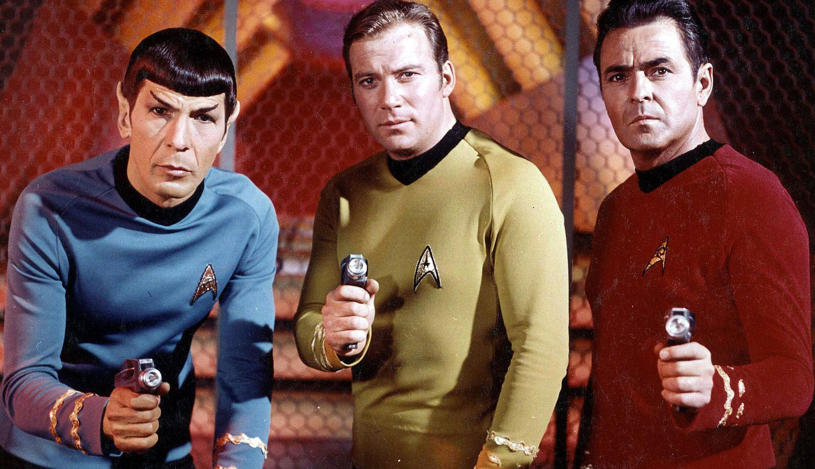 """Actors Leonard Nimoy, William Shatner and James Doohan from the original """"Star Trek"""" series. The show premiered 50 years ago as one of the new fall shows on NBC's 1966-1967 schedule."""