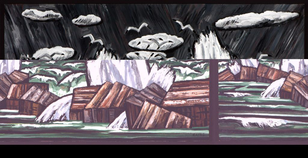 David Bates, Storm Tide, 2015, oil on panel, 42 x 84 inches
