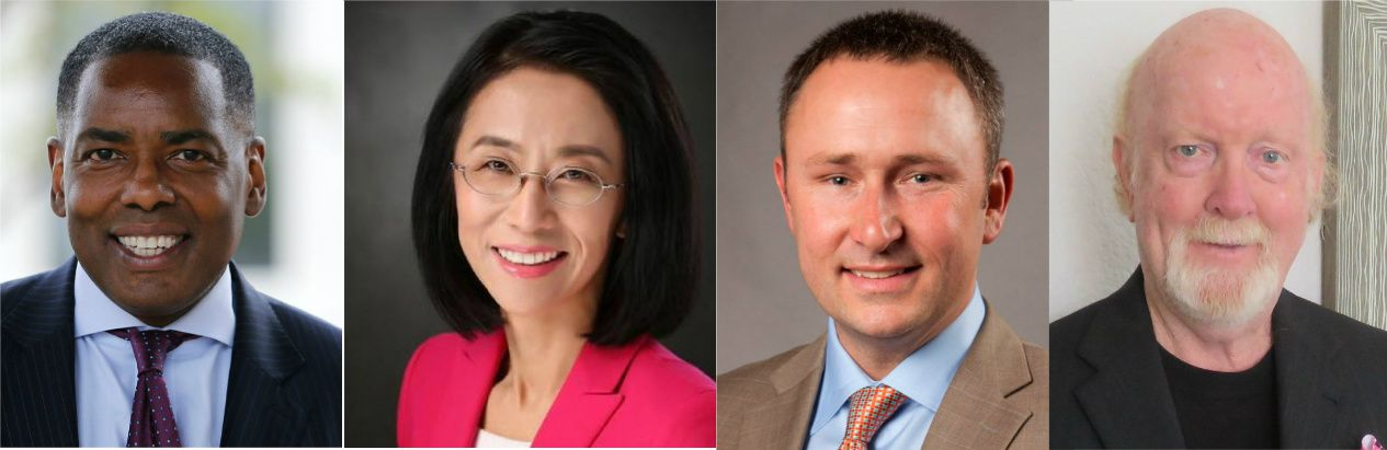 Plano Mayor Harry LaRosiliere, far left, faced three challengers in Saturday's election: Lily Bao, Bill Lisle III and Douglas Reeves.