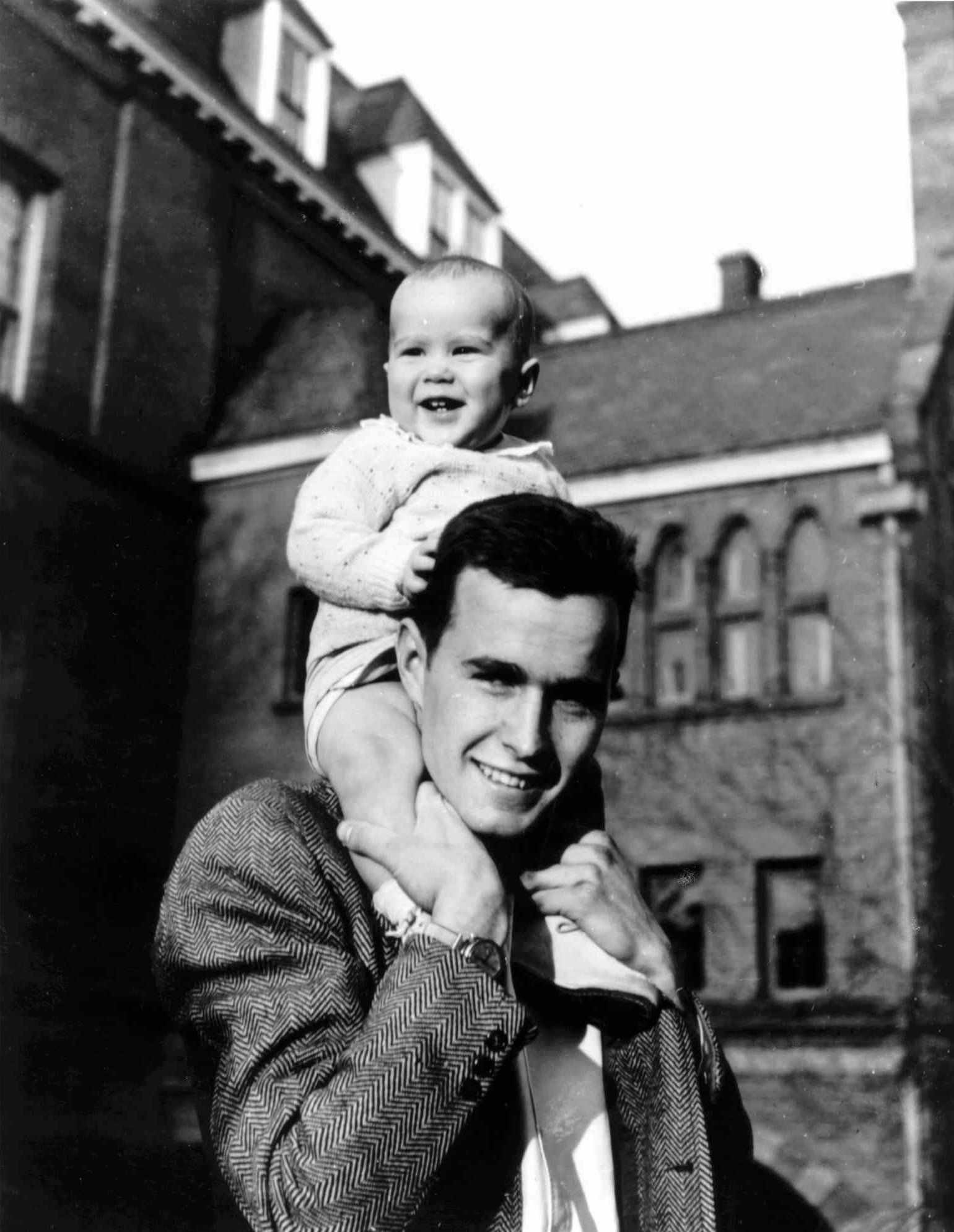 1947: Two future presidents: George H.W. Bush and son George W. Bush, when the younger Bush — born in New Haven, Conn. — was about 9 months old.