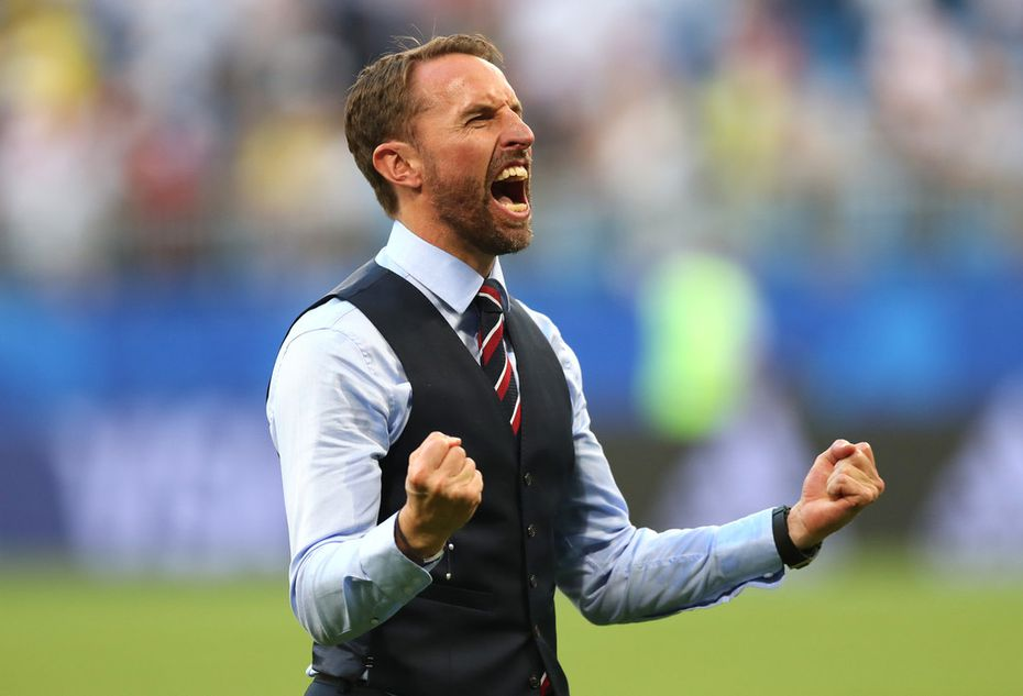 SAMARA, RUSSIA - JULY 07:  Gareth Southgate, Manager of England celebrates following victory during the 2018 FIFA World Cup Russia Quarter Final match between Sweden and England at Samara Arena on July 7, 2018 in Samara, Russia.  (Photo by Alex Morton/Getty Images)
